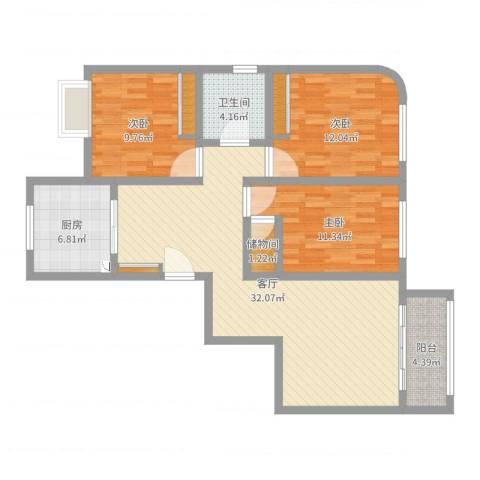 紫麟苑3室1厅1卫1厨105.00㎡户型图