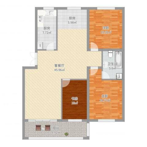 咸亨佳苑3室2厅1卫1厨134.00㎡户型图