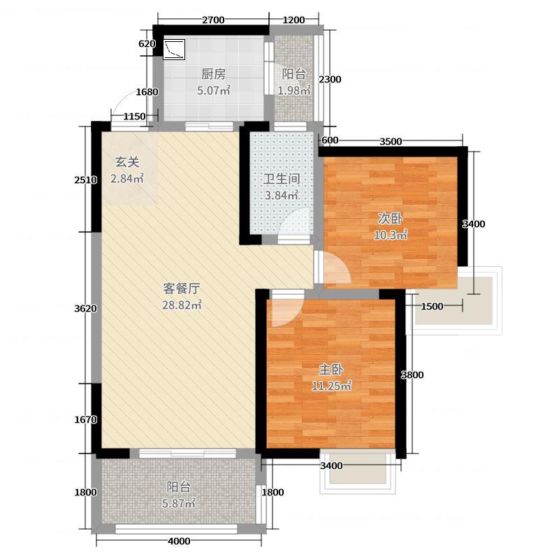 三利麓山城87.05㎡高层C户型2室2厅1卫1厨