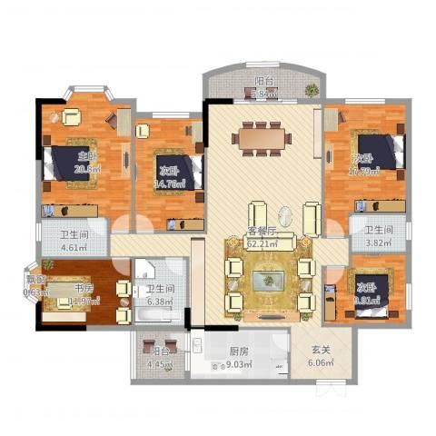 南湖花园5室2厅3卫1厨214.00㎡户型图