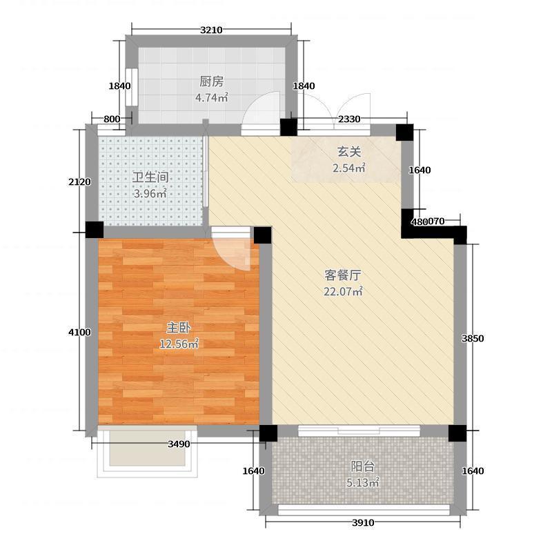 旷达太湖花园68.21㎡34、36#标准层B5户型1室1厅1卫1厨