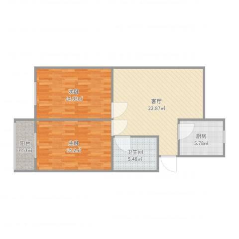 三和温泉花园天时园2室1厅1卫1厨83.00㎡户型图