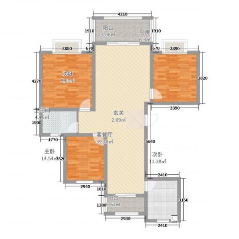 绿地泊林公馆3室2厅1卫1厨118.00㎡户型图