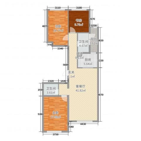 世嘉・正园3室2厅2卫1厨126.00㎡户型图