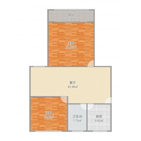 太阳公寓2室1厅1卫1厨148.00㎡户型图