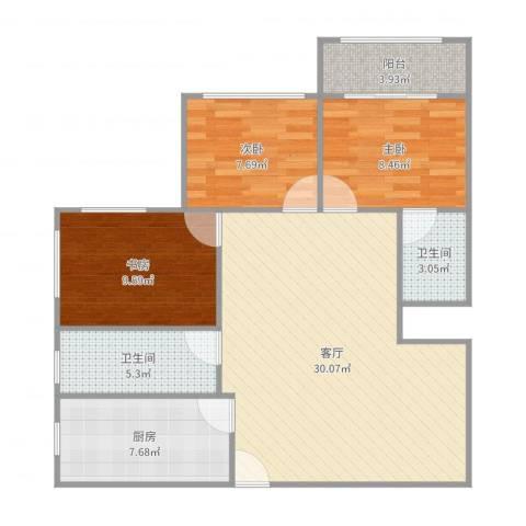 太阳公寓3室1厅2卫1厨95.00㎡户型图