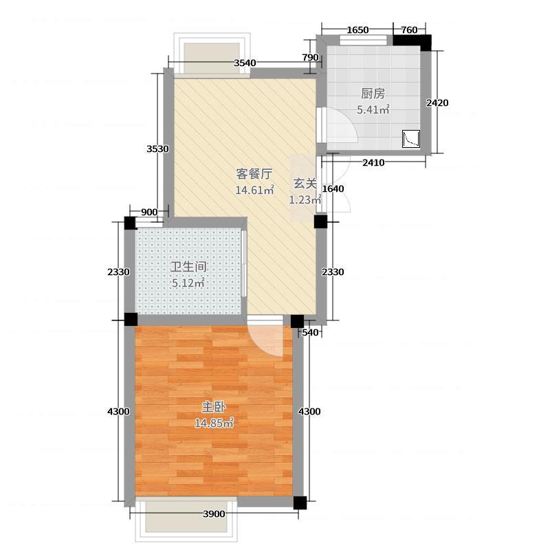 旷达太湖花园50.60㎡34、36#标准层B6户型1室1厅1卫1厨