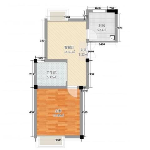 旷达太湖花园1室2厅1卫1厨51.00㎡户型图