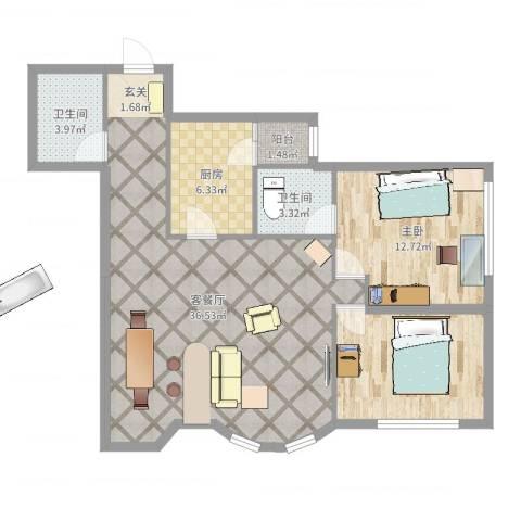 鹏润家园1室2厅2卫1厨94.00㎡户型图