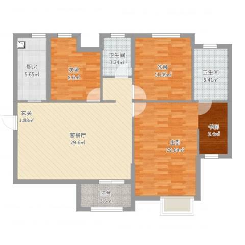 观庭金色世家3室2厅2卫1厨113.00㎡户型图