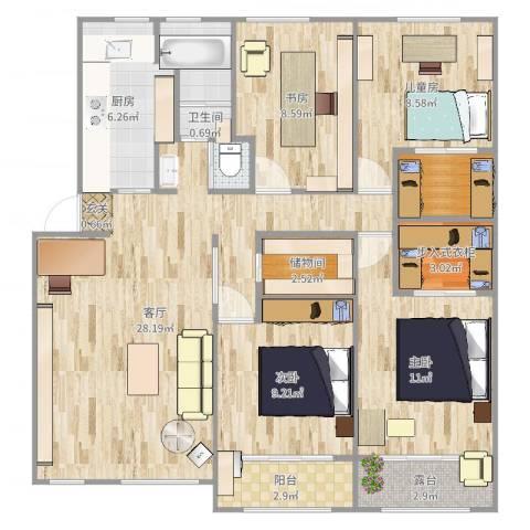 清涧四街坊4室1厅1卫1厨112.00㎡户型图