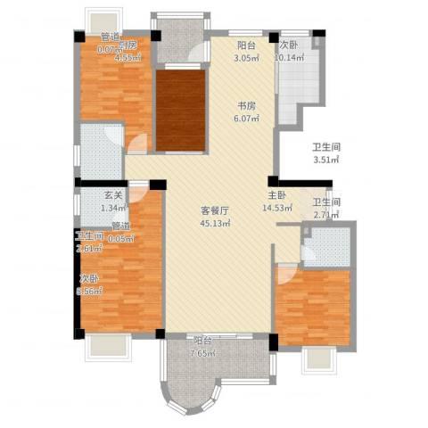 力嘉城市中心4室2厅3卫1厨154.00㎡户型图