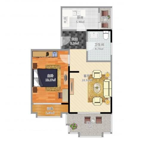 东山滨海湾花园1室1厅1卫1厨66.00㎡户型图