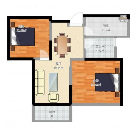 南山湖1号2室1厅1卫1厨76.00㎡户型图