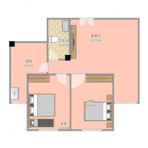华新园67-1-*022室2厅1卫1厨86.00㎡户型图