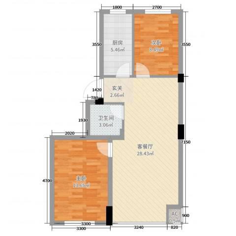金域蓝山2室2厅1卫1厨80.00㎡户型图