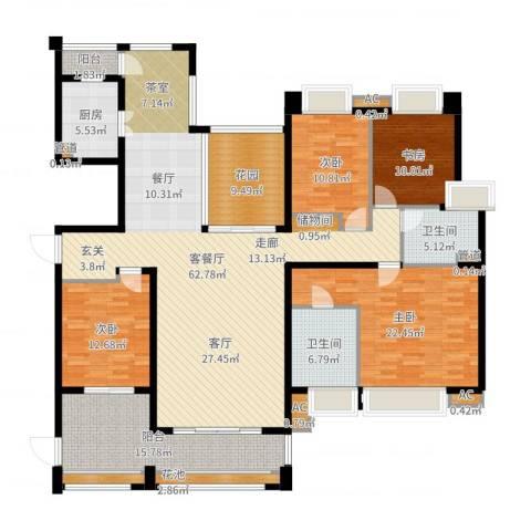 中海胥江府4室2厅2卫1厨210.00㎡户型图