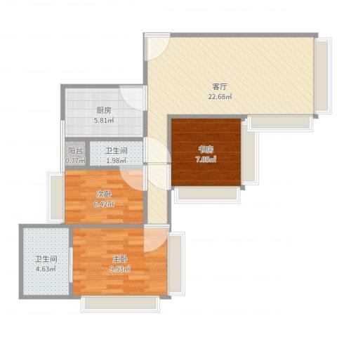 湖畔天下3室1厅2卫1厨74.00㎡户型图