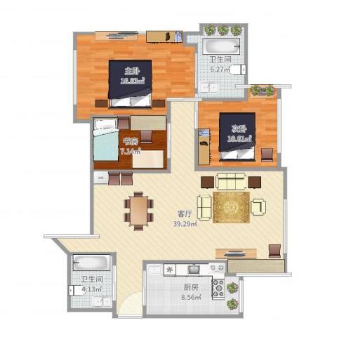 湖畔天下3室1厅2卫1厨116.00㎡户型图