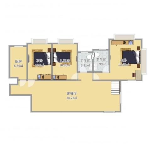 湖畔天下3室2厅2卫1厨113.00㎡户型图