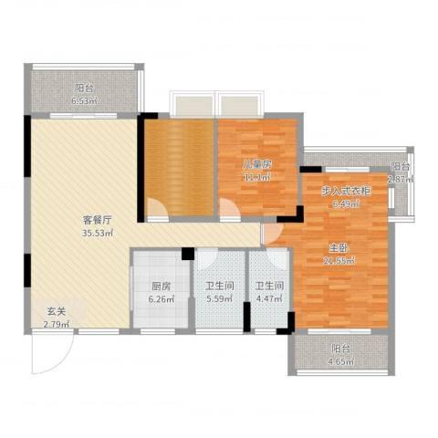 柏丽花园2室2厅2卫1厨135.00㎡户型图