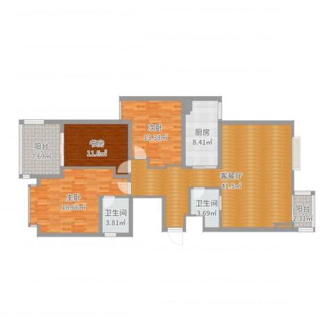 民生世家3室2厅2卫1厨111.22㎡户型图