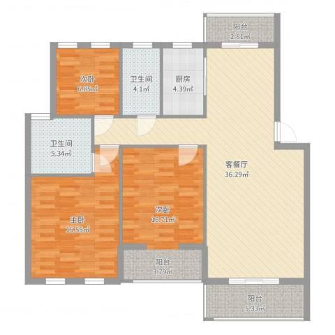 水榭花都3室2厅2卫1厨122.00㎡户型图