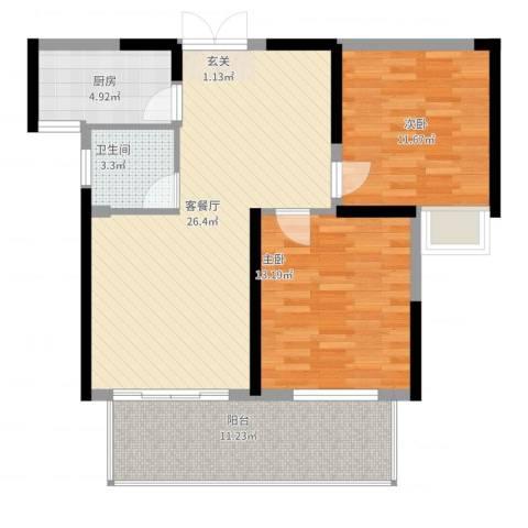 铜锣湾香逸澜湾2室2厅1卫1厨100.00㎡户型图