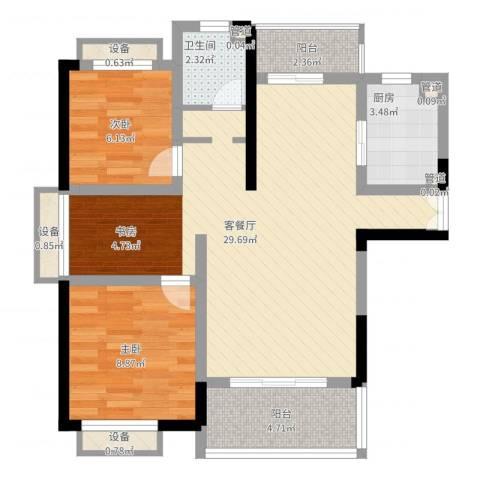 枫庐新天地2室2厅1卫1厨90.00㎡户型图