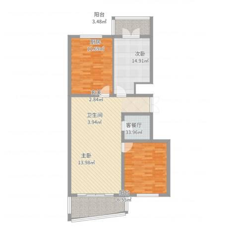 新天地家园2室2厅1卫1厨125.00㎡户型图