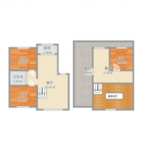 中海水岸春城3室2厅1卫1厨55.00㎡户型图