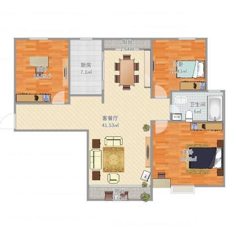 丽泽菊清苑1号701室103平3室2厅1卫1厨128.00㎡户型图