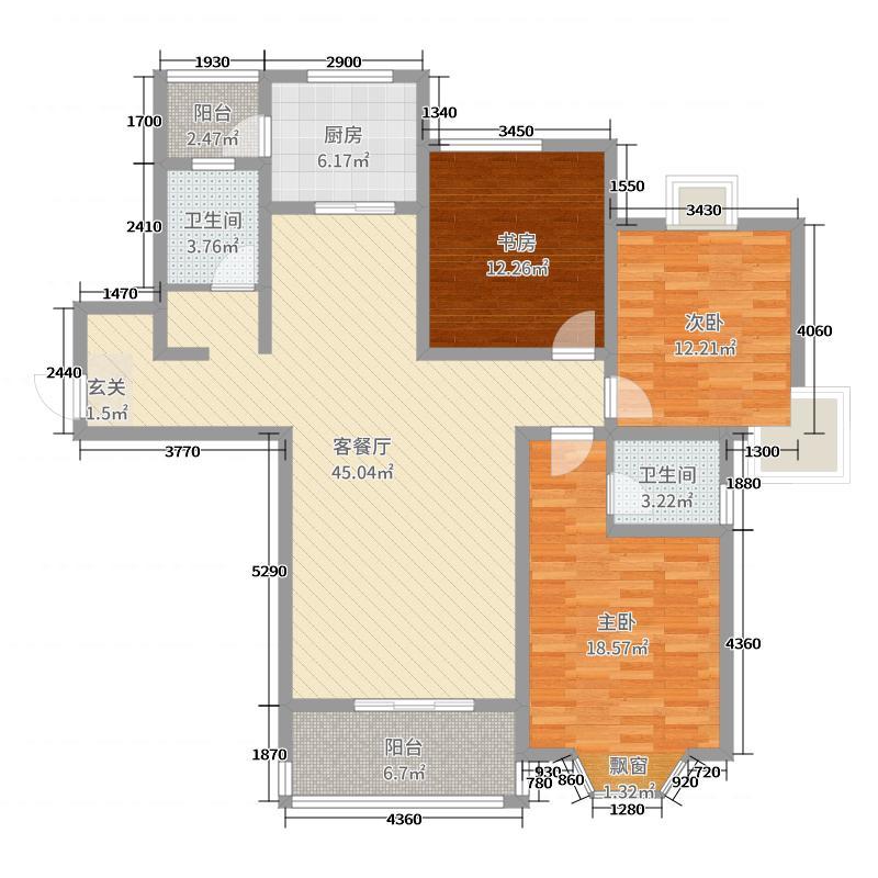 锦绣豪庭138.00㎡至尊居户型3室3厅2卫1厨