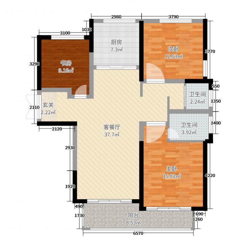 永威城121.53㎡3C户型3室3厅2卫1厨