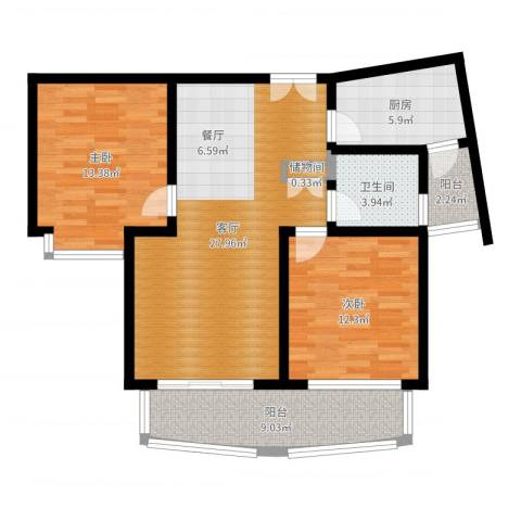 建邦16区2室1厅1卫1厨94.00㎡户型图