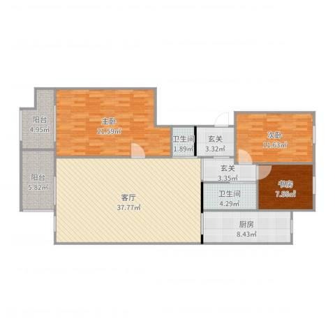 北卫新园3室1厅2卫1厨110.60㎡户型图
