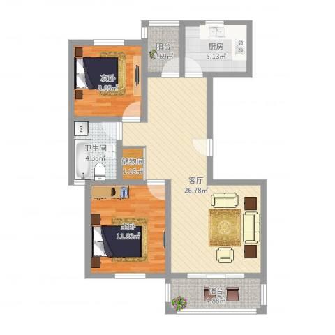 三岛龙州苑2室1厅1卫1厨82.00㎡户型图