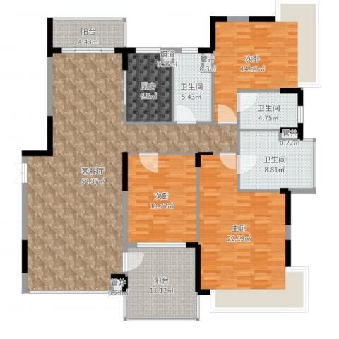 恒大海上威尼斯3室2厅3卫1厨200.00㎡户型图