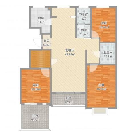 黄河龙城・半岛御境3室2厅2卫1厨146.00㎡户型图