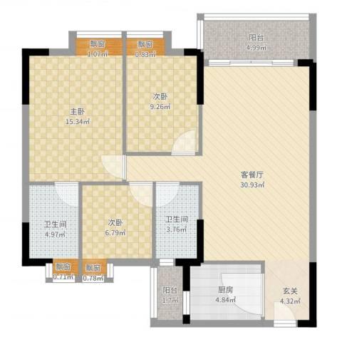 明睿华海大厦3室2厅2卫1厨103.00㎡户型图