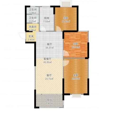 滨河新天地3室2厅2卫1厨131.00㎡户型图