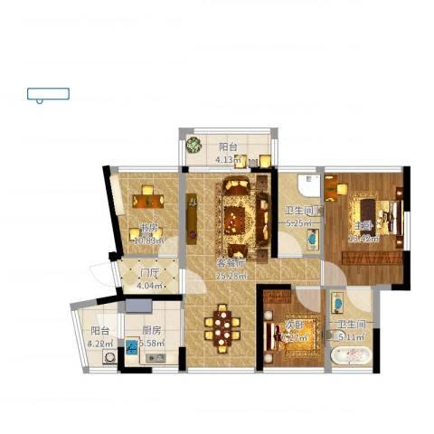 佳兆业水岸豪门3室2厅2卫1厨100.00㎡户型图