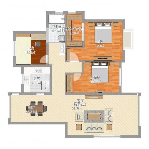 瑞园小区24-1-2013室1厅1卫1厨136.00㎡户型图