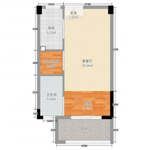 旷达太湖花园2厅1卫1厨60.00㎡户型图