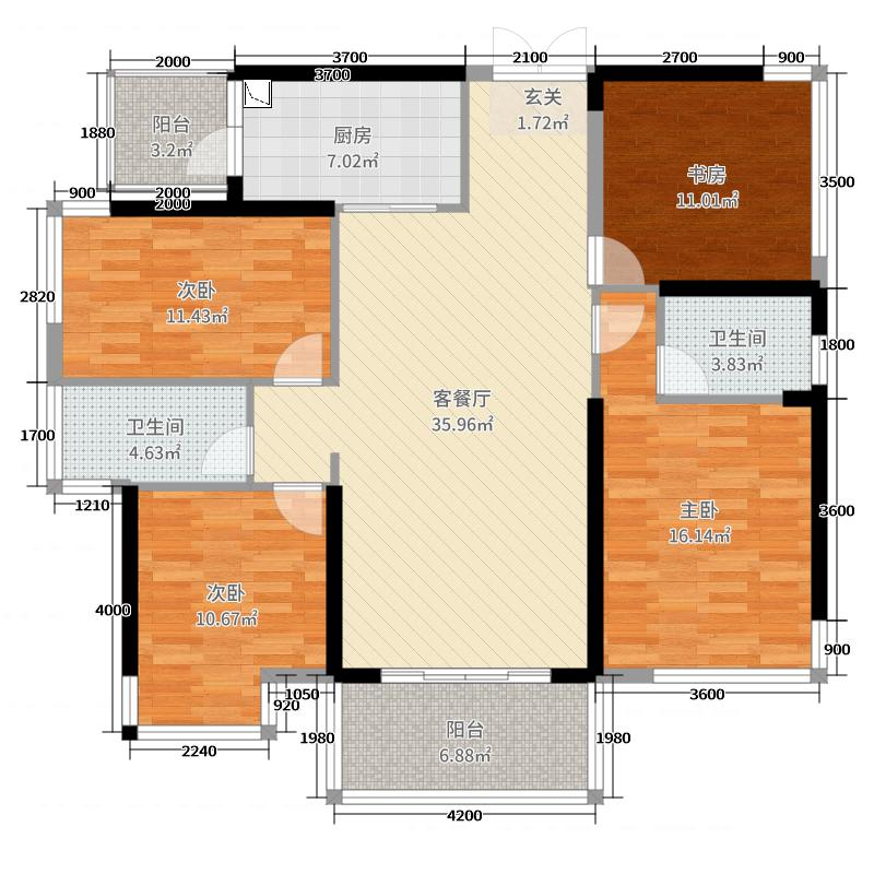 龙光玖珑湖128.19㎡6、8#1单元03户型4室4厅2卫1厨