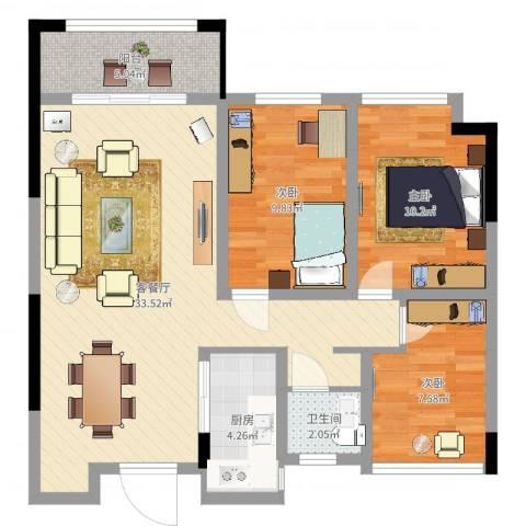 泉山湖香颂小镇3室2厅1卫1厨91.00㎡户型图