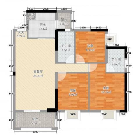 远洋・翡丽郡3室2厅2卫1厨106.00㎡户型图