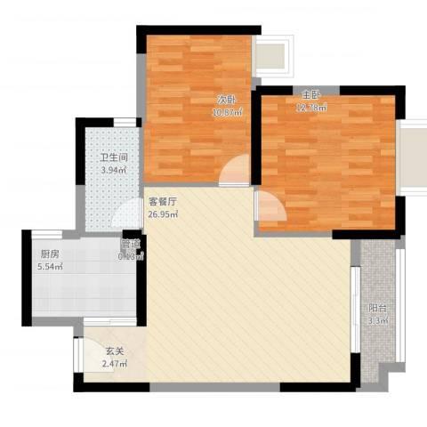 阳光四季2室2厅1卫1厨90.00㎡户型图