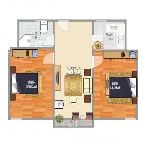 荷一小区2室1厅1卫1厨70.00㎡户型图
