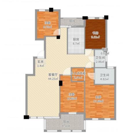 春江花城4室2厅2卫1厨151.00㎡户型图